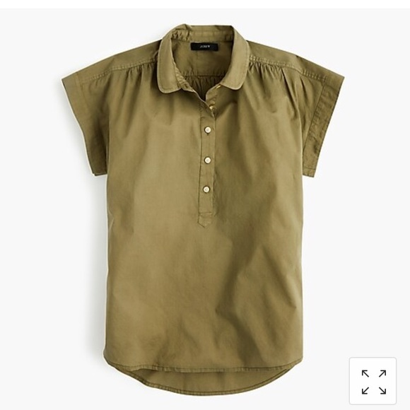 J. Crew Tops - J Crew collared popover shirt - s - olive green